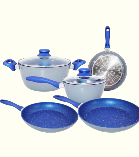 Cookware Set 7 Piece Non-Stick Blue Marble Ceramic Forged Aluminum Pots and Pans