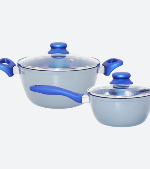 Cookware Set 4 Piece Non-Stick Blue Marble Ceramic Forged Aluminum Pots
